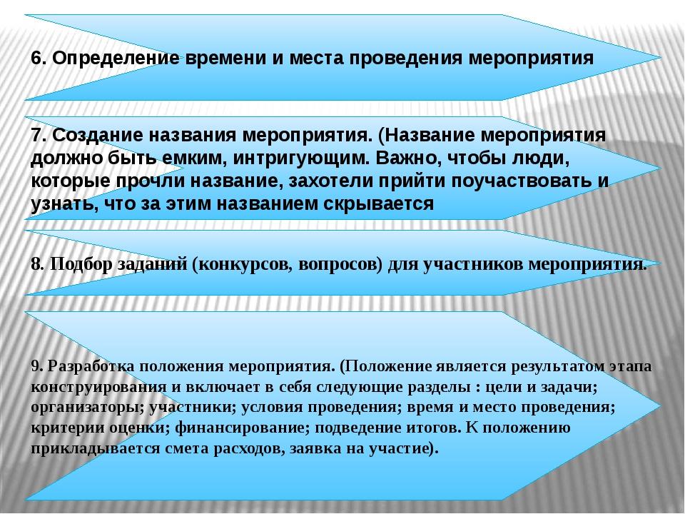 6. Определение времени и места проведения мероприятия 7. Создание названия ме...