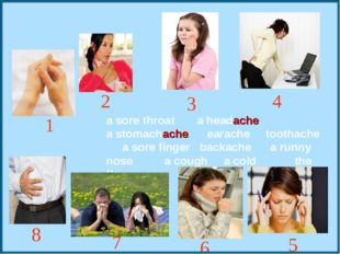 a sore throat a headache a stomachache earache toothache a sore finger backac