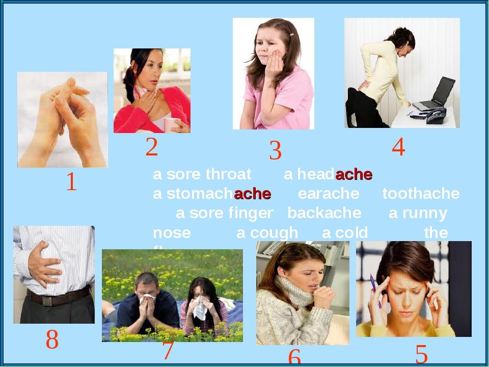 a sore throat a headache a stomachache earache toothache a sore finger backac...