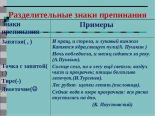 Разделительные знаки препинания Знаки препинания  Примеры Запятая( , ) Точка