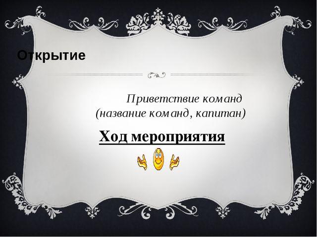 Ход мероприятия  Открытие Приветствие команд (название команд, капитан)