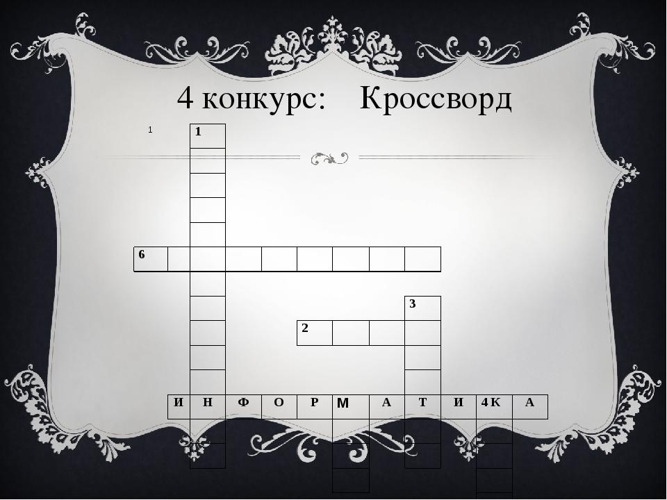 4 конкурс: Кроссворд 1 1 6 3 2 И Н Ф О Р М А Т И 4К А