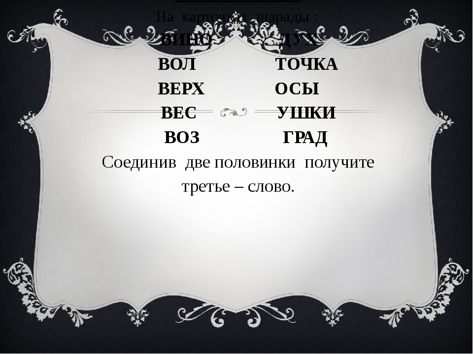 6 конкурс : «Конкурс капитанов» На карточках шарады : ВИНО ДУХ ВОЛ ТОЧКА ВЕРХ...