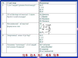 1) Б 2) А 3) Ә 4) Б 5) В №СұрақтарЖауаптар 1Қуат қандай әріппен белгіленед