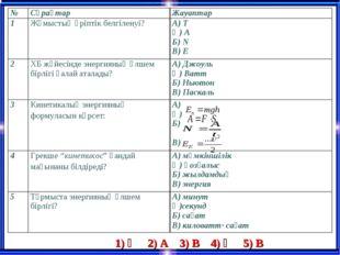 1) Ә 2) А 3) В 4) Ә 5) В №СұрақтарЖауаптар 1Жұмыстың әріптік белгіленуі?А