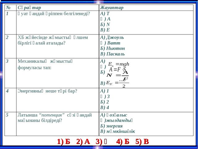 1) Б 2) А 3) Ә 4) Б 5) В №СұрақтарЖауаптар 1Қуат қандай әріппен белгіленед...