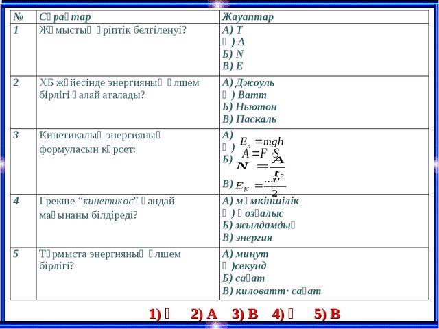 1) Ә 2) А 3) В 4) Ә 5) В №СұрақтарЖауаптар 1Жұмыстың әріптік белгіленуі?А...