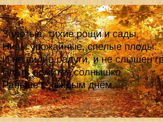 . Золотые, тихие рощи и сады, Нивы урожайные, спелые плоды. И не видно радуги...