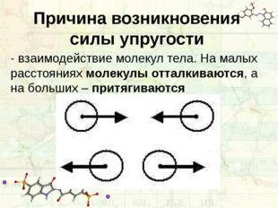 Причина возникновения силы упругости - взаимодействие молекул тела. На малых