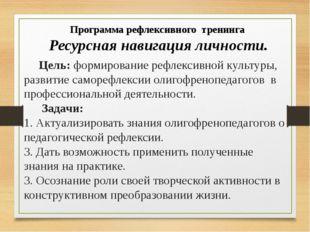 Цель: формирование рефлексивной культуры, развитие саморефлексии олигофреноп