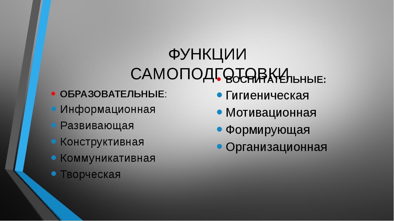 ФУНКЦИИ САМОПОДГОТОВКИ ОБРАЗОВАТЕЛЬНЫЕ: Информационная Развивающая Конструкт...