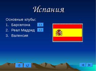 Испания Основные клубы: Барселона Реал Мадрид Валенсия