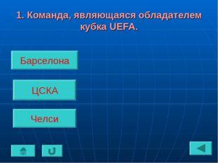1. Команда, являющаяся обладателем кубка UEFA. Барселона ЦСКА Челси