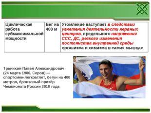 Тренихин Павел Александрович (24 марта 1986, Серов) — спортсмен-легкоатлет, б