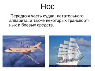 Нос Передняя часть судна, летательного аппарита, а также некоторых транспорт-
