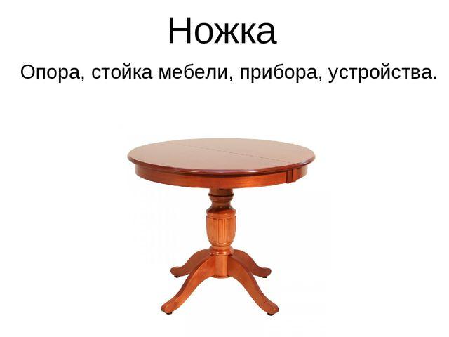 Ножка Опора, стойка мебели, прибора, устройства.