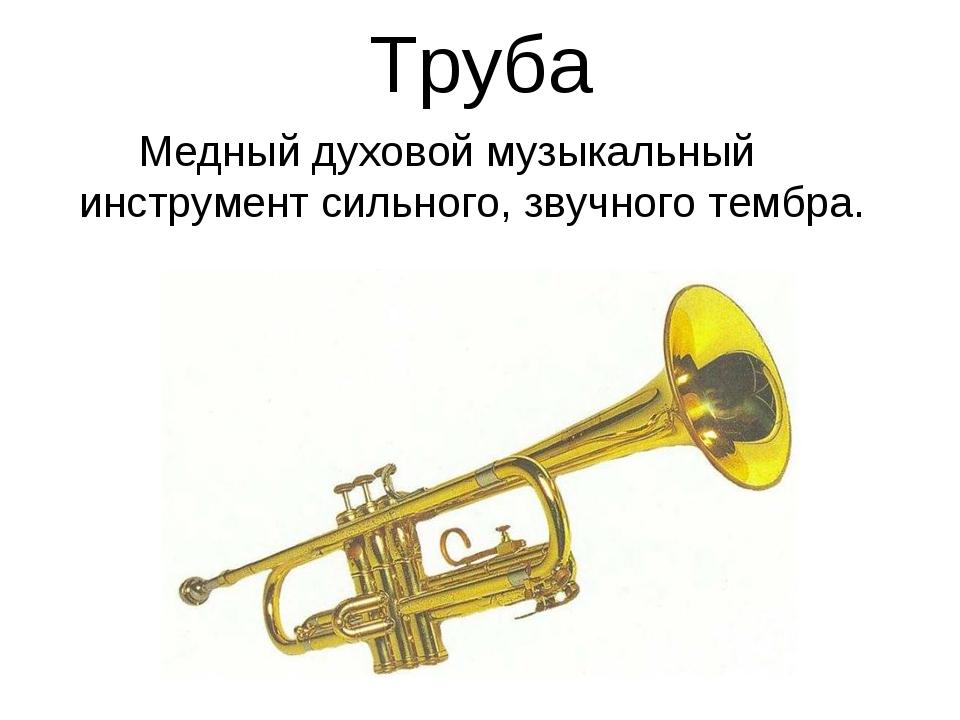 Труба Медный духовой музыкальный инструмент сильного, звучного тембра.