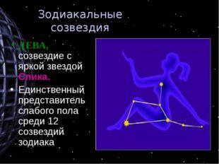 Зодиакальные созвездия ДЕВА, созвездие с яркой звездой Спика. Единственный пр