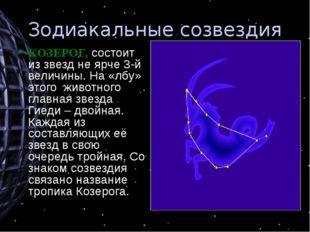 Зодиакальные созвездия КОЗЕРОГ, состоит из звезд не ярче 3-й величины. На «лб