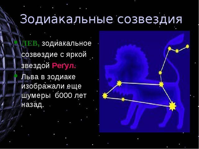 Зодиакальные созвездия ЛЕВ, зодиакальное созвездие с яркой звездой Регул. Л...