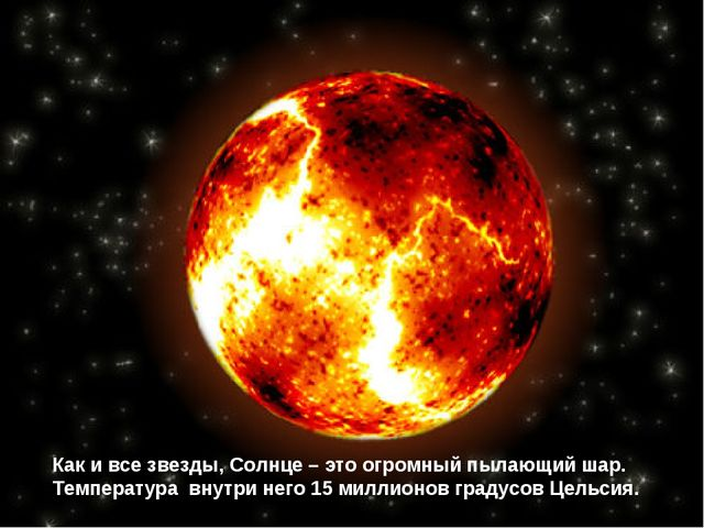 Как и все звезды, Солнце – это огромный пылающий шар. Температура внутри него...