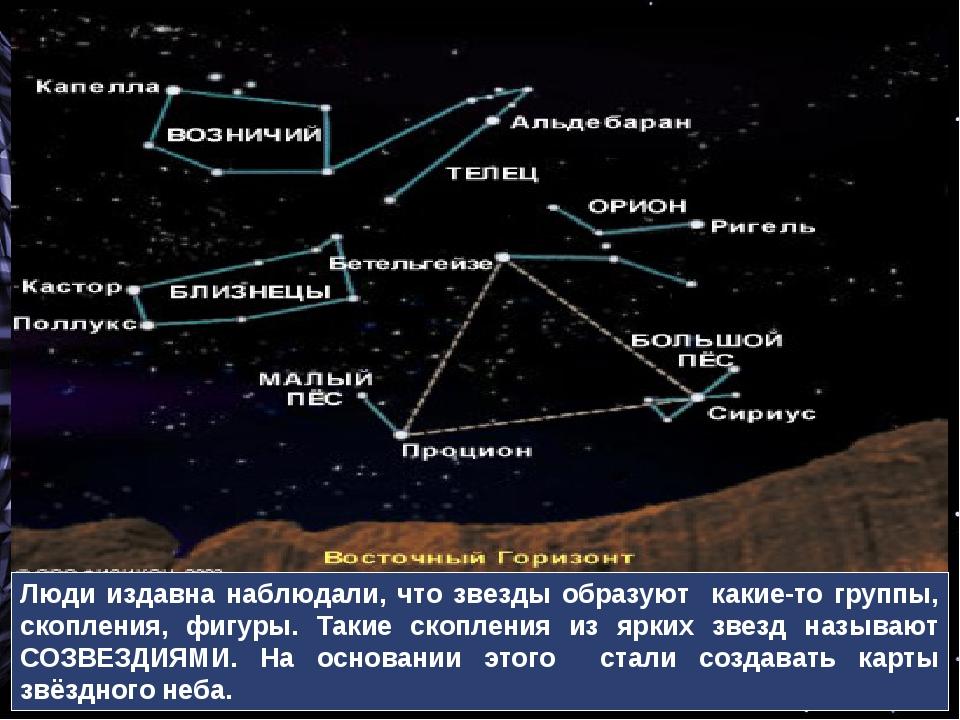 Люди издавна наблюдали, что звезды образуют какие-то группы, скопления, фигур...
