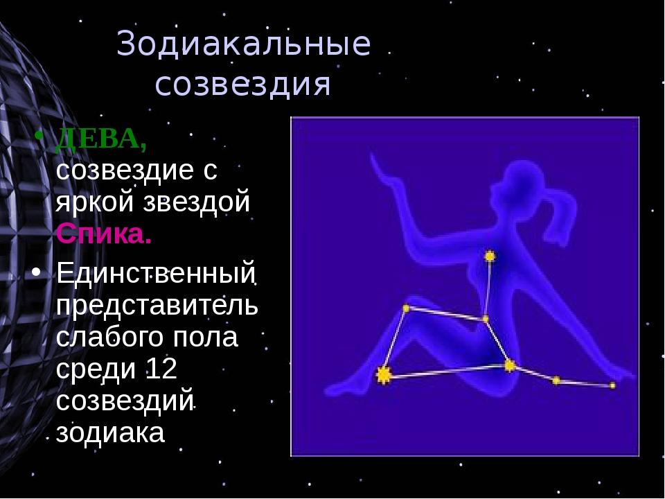 Зодиакальные созвездия ДЕВА, созвездие с яркой звездой Спика. Единственный пр...