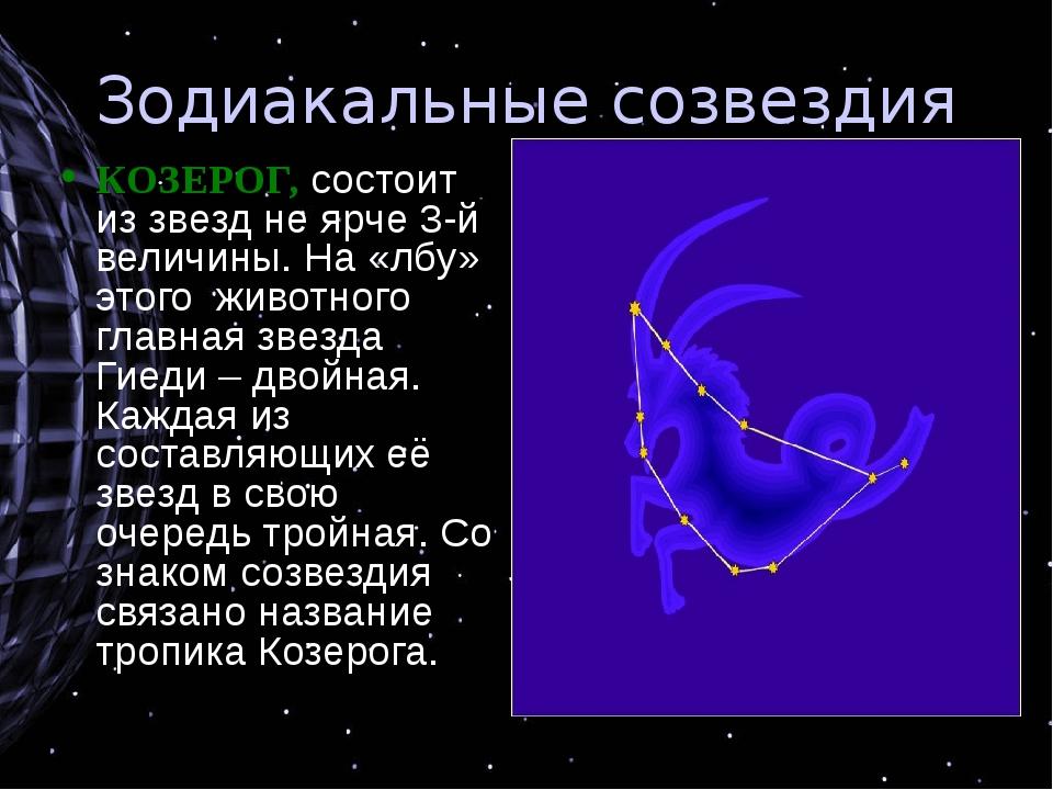 Зодиакальные созвездия КОЗЕРОГ, состоит из звезд не ярче 3-й величины. На «лб...
