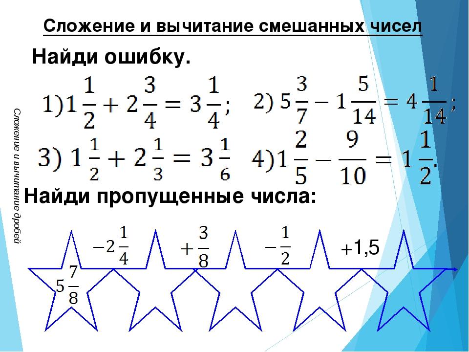 Сложение и вычитание дробей Сложение и вычитание смешанных чисел Найди ошибку...