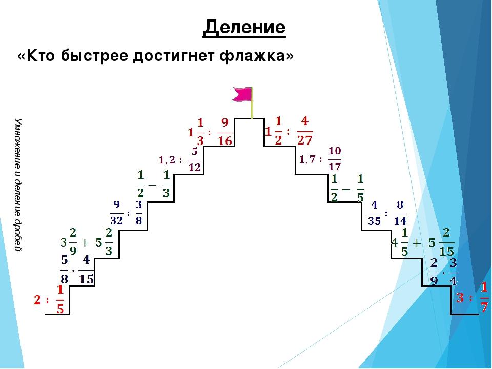 Умножение и деление дробей Деление «Кто быстрее достигнет флажка»