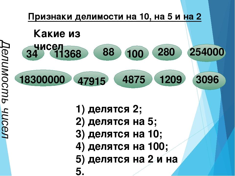 Признаки делимости на 10, на 5 и на 2 Делимость чисел 1) делятся 2; 2) делят...