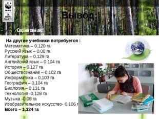 Вывод: На другие учебники потребуется : Математика – 0,120 га Русский язык –