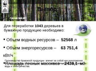 Вывод: Для переработки 1043 деревьев в бумажную продукцию необходимо: Объем в
