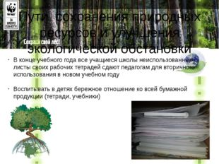 Пути сохранения природных ресурсов и улучшения экологической обстановки В кон