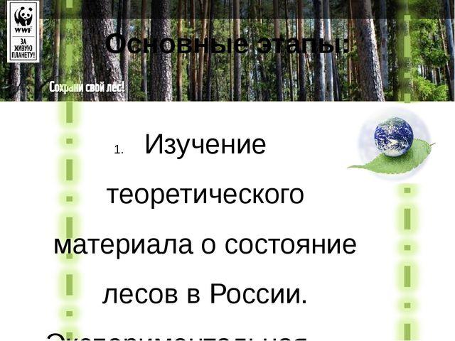 Изучение теоретического материала о состояние лесов в России. Экспериментальн...
