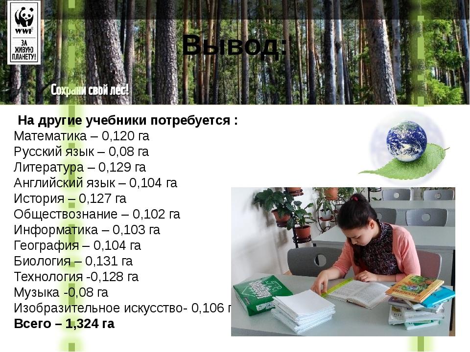 Вывод: На другие учебники потребуется : Математика – 0,120 га Русский язык –...