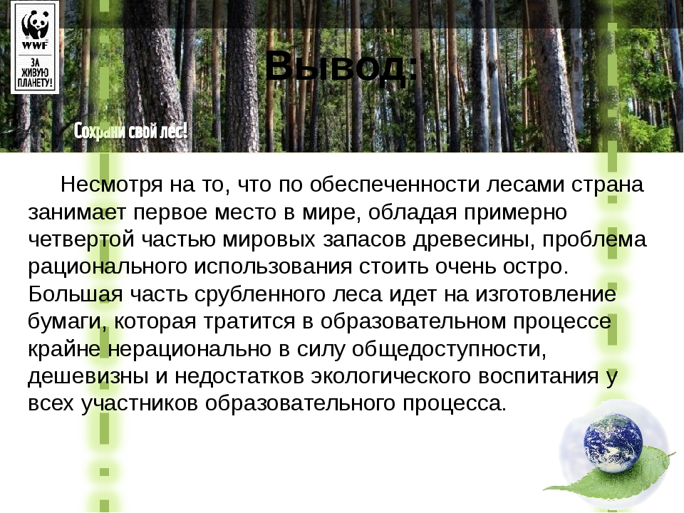Вывод: Несмотря на то, что по обеспеченности лесами страна занимает первое ме...