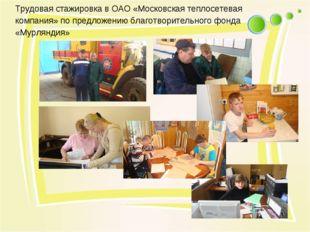 Трудовая стажировка в ОАО «Московская теплосетевая компания» по предложению б