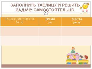 ЗАПОЛНИТЬ ТАБЛИЦУ И РЕШИТЬ ЗАДАЧУ САМОСТОЯТЕЛЬНО ПРОИЗВОДИТЕЛЬНОСТЬ (кв. м) В