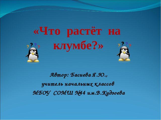 «Что растёт на клумбе?» Автор: Басиева Я.Ю., учитель начальных классов МБОУ...