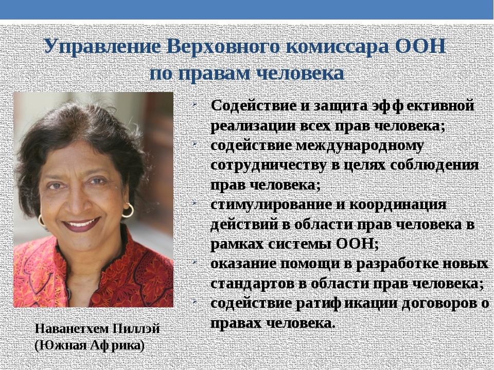 Управление Верховного комиссара ООН по правам человека Содействие и защита эф...