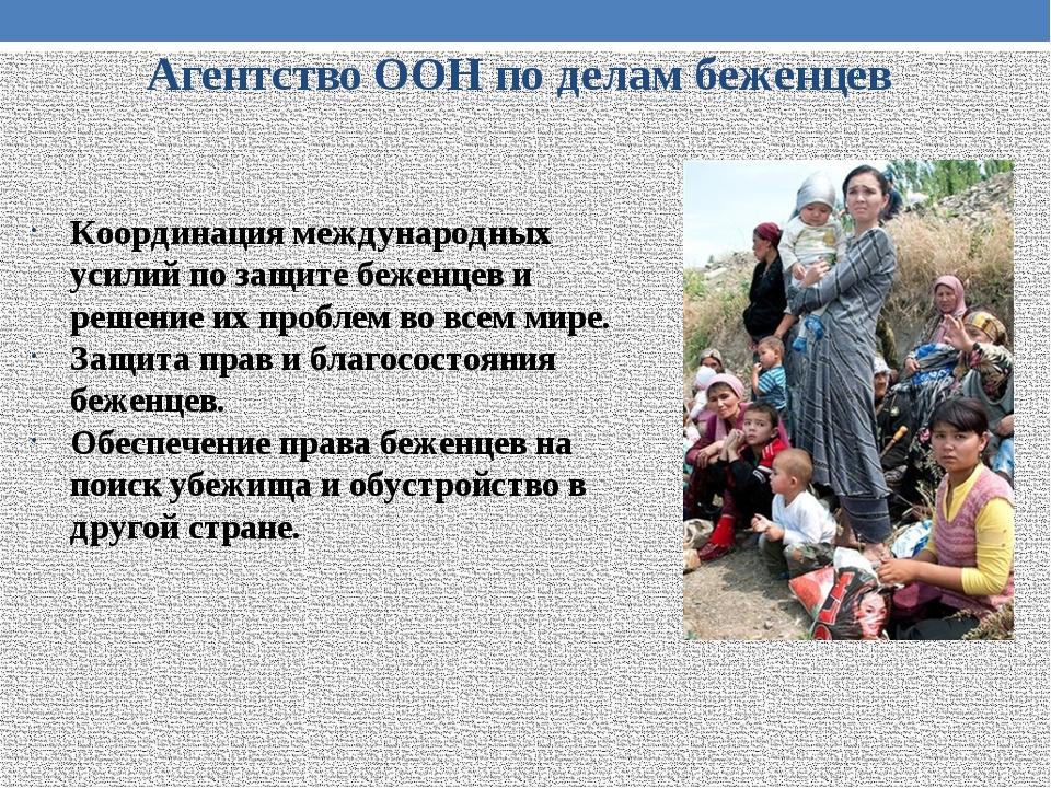 Агентство ООН по делам беженцев Координация международных усилий по защите бе...