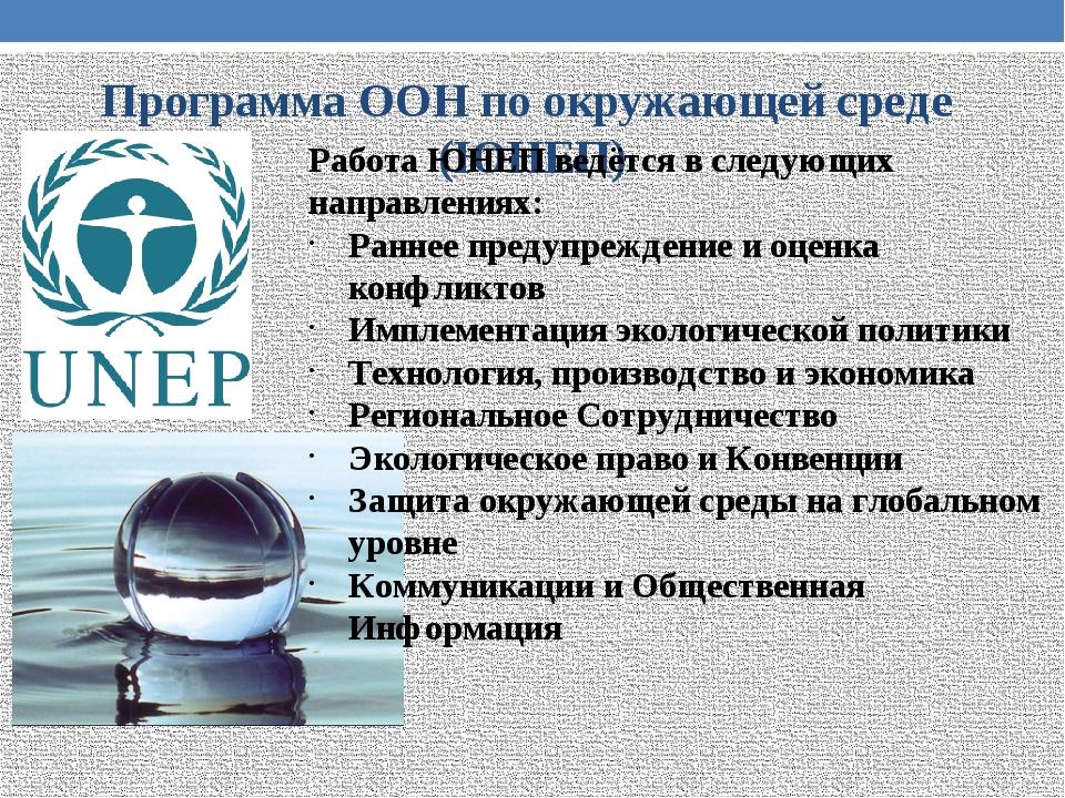 Программа ООН по окружающей среде (ЮНЕП) Работа ЮНЕП ведётся в следующих напр...