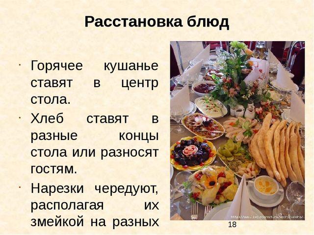 Расстановка блюд Горячее кушанье ставят в центр стола. Хлеб ставят в разные к...