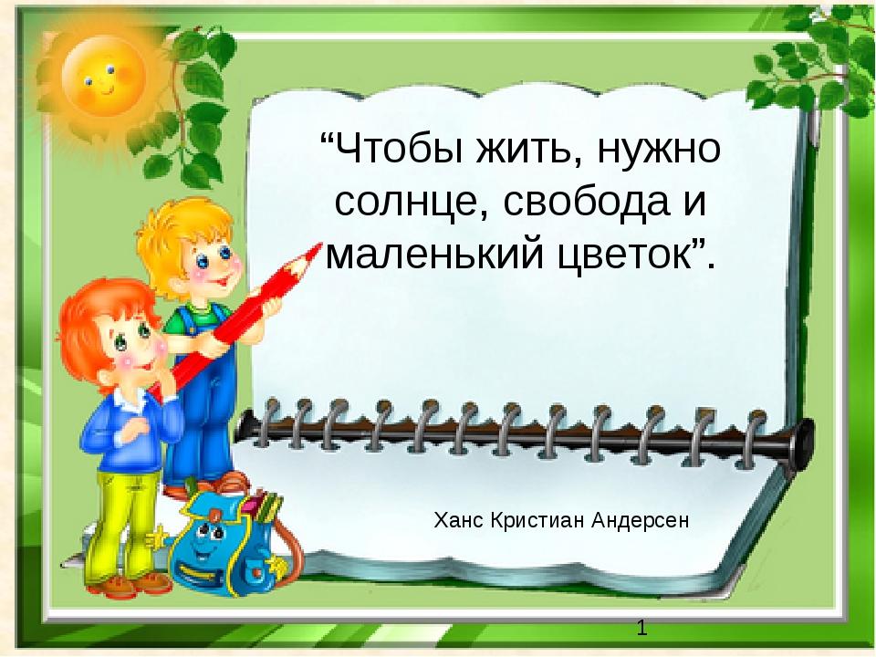 """""""Чтобы жить, нужно солнце, свобода и маленький цветок"""". Ханс Кристиан Андерсен"""