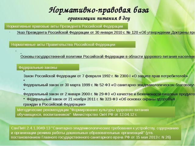 Нормативно-правовая база организации питания в доу Указ Президента Российской...