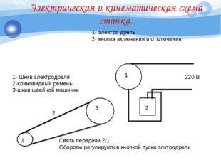 Электрическая и кинематическая схема станка. 1 2 220 В 1- электро дрель 2- кн