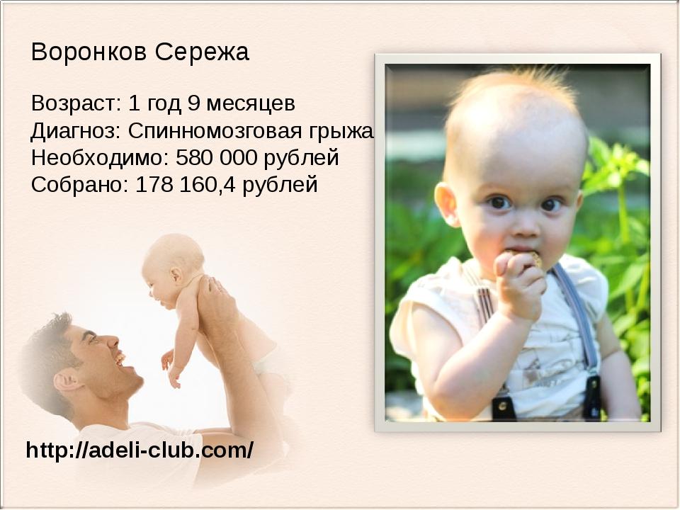 Воронков Сережа Возраст: 1 год 9 месяцев Диагноз: Спинномозговая грыжа Необхо...