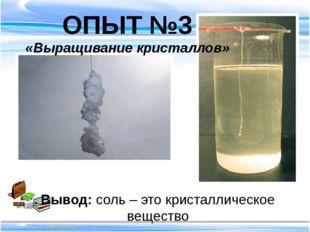 Вывод: соль – это кристаллическое вещество ОПЫТ №3 «Выращивание кристаллов»
