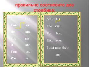 правильно соотнесите два столбика: I они You он He она She ты It вы You мы We